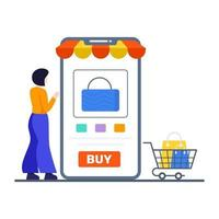 Online- oder Mobile-Store-Konzept kaufen vektor