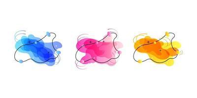 Geometrische Banner mit Farbverlauf und fließenden Flüssigkeitsformen. dynamisches flüssiges Design für Logo, Flyer oder Präsentationen. abstrakter Vektorhintergrund