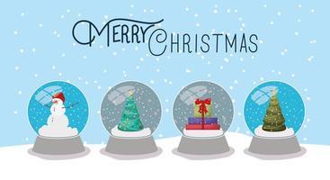 Frohe Weihnachtskarte mit Kristallkugeln vektor