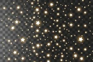 uppsättning gyllene fallande stjärnor. moln av gyllene stjärnor isolerade. vektor illustration. meteoroid, komet, asteroid, stjärnor