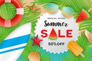 Sommerschlussverkauffahnen-Hintergrunddesign mit Sommerdekoration vektor