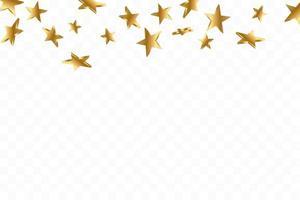 guldgul 3d stjärna faller. vektor konfetti stjärna bakgrund. gyllene stjärnbelyst kort. konfetti faller kaotisk dekor.