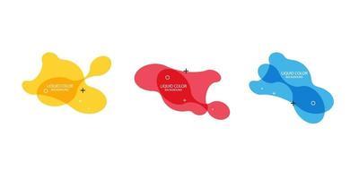 moderner abstrakter Vektorfahnensatz. flache geometrische flüssige Form mit verschiedenen Farben.