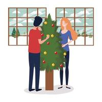 Paar feiert Weihnachten