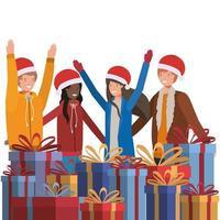 människor firar jul vektor