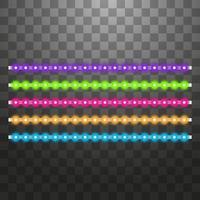 verschiedene LED-Streifen auf schwarzem Hintergrund vektor