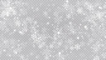 vit snö flyger. jul snöflingor. vinter snöstorm bakgrundsillustration.