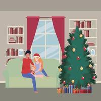 familj firar jul hemma