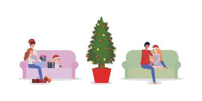 Familie feiert Weihnachten zu Hause eingestellt