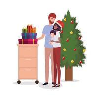 interracial Familie, die Weihnachten zu Hause feiert vektor