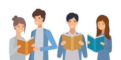 grupp studenter som läser böcker