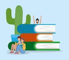 Gruppe von Studenten, die Bücher lesen vektor