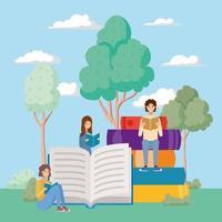 grupp studenter som läser böcker i parken