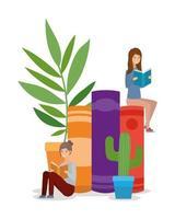 unga kvinnor som läser böcker