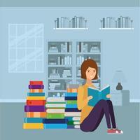 ung kvinna läser bok