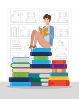 ung man som läser en bok