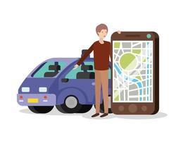 ung man med smartphone och GPS-app vektor