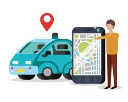 junger Mann mit Smartphone und GPS-App