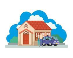 ungt par med smart bil och husplats vektor