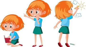 uppsättning av en tecknad flicka som gör olika aktiviteter vektor