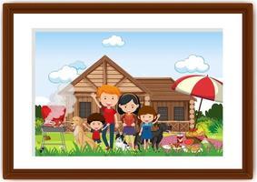 en bild av familjen som gör picknick i en ram vektor
