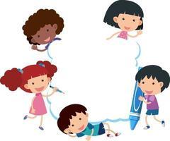 leeres Banner mit vielen Kinderzeichentrickfigur
