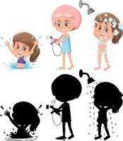 Satz einer Mädchenzeichentrickfigur in verschiedenen Positionen mit seiner Silhouette