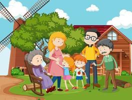 familjemedlem på bondgårdens utomhusplats vektor