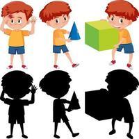 uppsättning av en pojke som håller olika matteverktyg med silhuett vektor