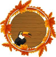 runde Herbstlaub-Fahnenschablone mit einer Tukan-Zeichentrickfigur