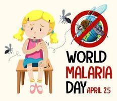 Weltmalaria-Tageslogo oder -banner mit Mückenzeichen vektor
