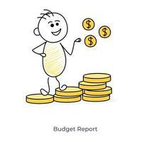 tecknad budgetreporter
