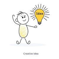 Zeichentrickfigur mit kreativer Idee