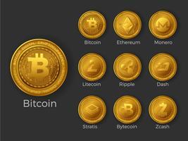 Gyllene cryptocurrency mynt ikoner uppsättning