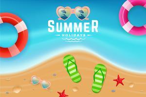 Draufsichtszene des Sand- und Meerwassers für Sommerferienhintergrund vektor