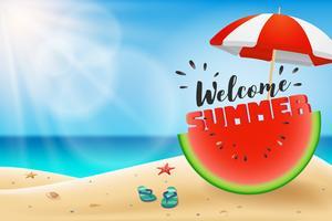Willkommene Sommerbeschriftung auf der Wassermelone geschnitten unter einem Regenschirm vektor