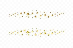 fallande gyllene stjärnor. moln av gyllene stjärnor isolerade. vektor illustration