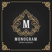 Design för tappning lyxig monogrambannermall