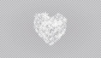 herzförmige Schneeflocken in flachem Stil in durchgehenden Zeichnungslinien. Spur von weißem Staub. magischer abstrakter Hintergrund isoliert. Wunder und Magie. vektor