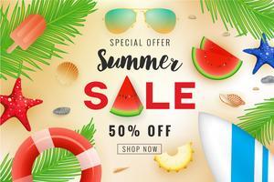 Sommerschlussverkauffahnen-Hintergrunddesign mit Sommerdekoration