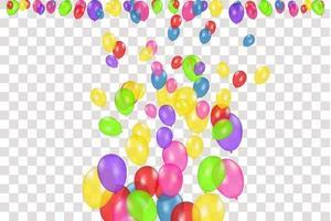 Tom banner med isolerade färgballonger. vektor festlig bakgrund. Grattis på födelsedagen koncept