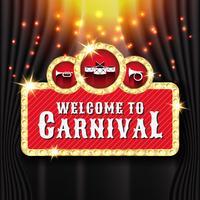 Karnevalsfahnen-Hintergrunddesign mit Glühlampenrahmen vektor