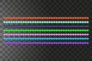 olika ledade ränder på svart bakgrund, glödande ledkransar vektor