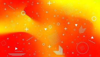 Memphis-Karte mit geometrischen Formen auf saftigem orange gewelltem Gradientenhintergrund. Luxusmodedesign, 80er und 90er Jahre. vektor