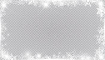 rechteckiger Winterschneerahmenrand mit Sternen, Glitzern und Schneeflocken. festliche Weihnachtsfahne, Neujahrsgrußkarte, Postkarte oder Einladung vektor