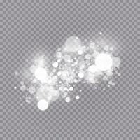 Glühender Lichteffekt mit vielen isolierten Glitzerpartikeln. Vektor Sternenwolke mit Staub. magische Weihnachtsdekoration
