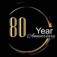 80 Jahre Jubiläumsfeier Gold schwarz Hintergrund Farbvektor Vorlage Design Illustration vektor