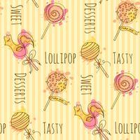 Sömlöst mönster. Vektor godis illustration. Sats av handgjorda lollipops med färgglada stänk. Cake pop med kräm design.