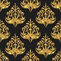 Gyllene glitter sömlösa mönster. Vektor bakgrund med damast o