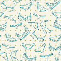 Nahtloses Muster der Unterwäsche mit grünen Punkten. BHs und Höschenabbildung. vektor